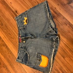 Vintage jeans shorts, hand painted